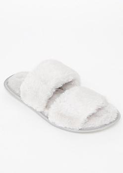 Gray Fluffy Strap Slippers