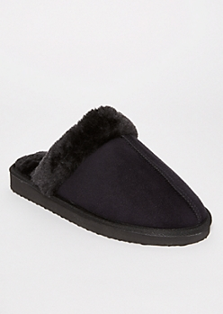 Black Sherpa Lined Slippers