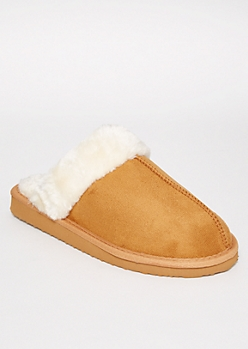 Cognac Sherpa Lined Slippers