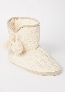 Ivory Cable Knit Pom Bootie Slippers