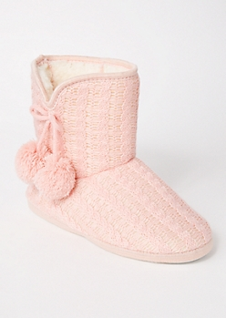 Pink Cable Knit Pom Bootie Slippers