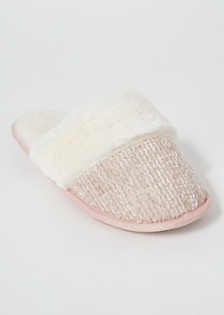 Pink Chenille Fluffy Slippers