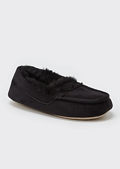 Black Faux Fur Lined Moccasin Slippers