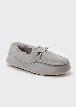 Gray Faux Fur Lined Moccasin Slippers