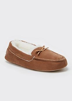 Camel Faux Fur Lined Moccasin Slippers