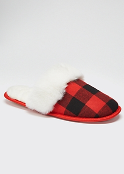 Red Plaid Fluffy Slippers