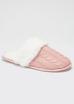 Pink Cable Knit Fluffy Slippers