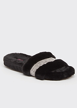 Black Faux Fur Rhinestone Striped Slide Slippers