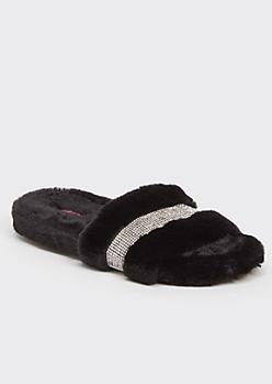 Black Faux Fur Rhinestone Striped Slide Slippers