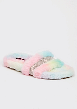 Pastel Faux Fur Rhinestone Striped Slide Slippers