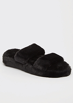 Black Faux Fur Double Band Slide Slippers