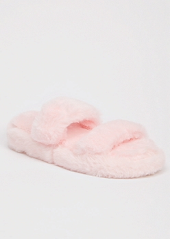 Pink Faux Fur Double Band Slide Slippers