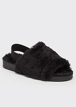 Black Faux Fur Slingback Slippers
