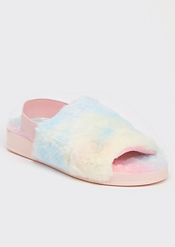 Pastel Tie Dye Print Faux Fur Slingback Slippers