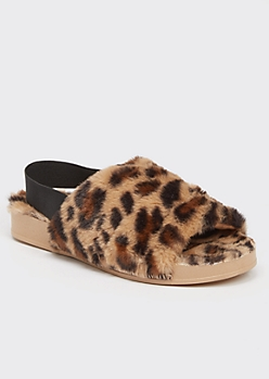 Cheetah Print Faux Fur Slingback Slippers