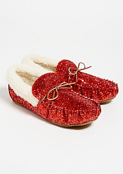 Red Glitter Faux Fur Lined Moccasins