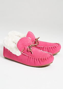 Fuchsia Faux Fur Lined Moccasins