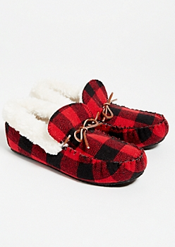 Red Plaid Print Faux Fur Lined Moccasins