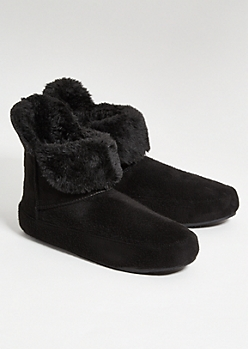 Black Faux Fur Lined Boot Slippers