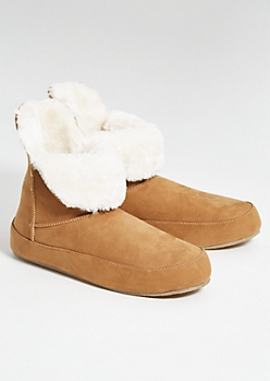 Cognac Faux Fur Lined Boot Slippers