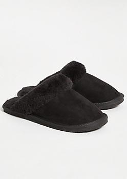 Black Faux Fur Cozy Slippers