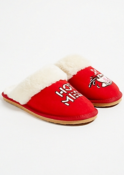 Red Hot Mess Cocoa Faux Fur Slippers