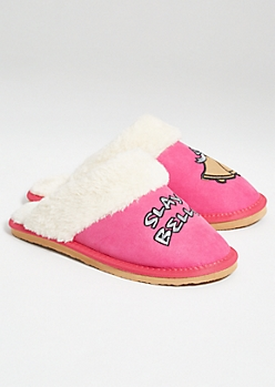 Pink Slay Bells Faux Fur Slippers