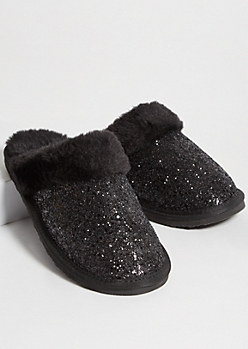 Black Glitter Faux Fur Lined Slippers