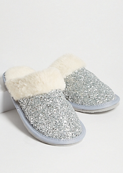 Silver Glitter Faux Fur Lined Slippers