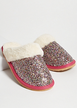 Fuchsia Glitter Faux Fur Lined Slippers