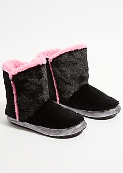 Black Glitter Faux Fur Slipper Boots