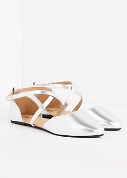 Silver Ankle Strap Flats - Wide Width