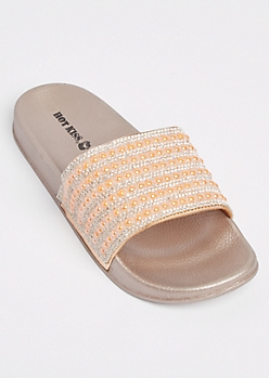 Rose Gold Stone Peral Slide On - Wide Width