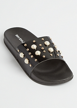 Black Patent Pearl Studded Slides - Wide Width