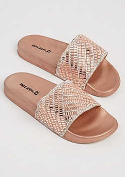 Rose Gold Geo Stone Slides - Wide Width