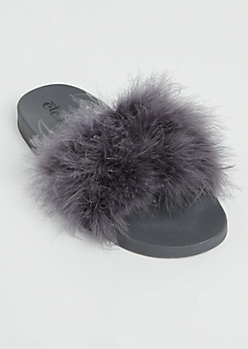 Charcoal Feathered Slides - Wide Width