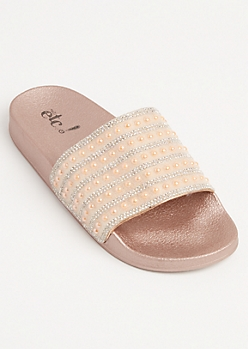 Rose Gold Pearly Stone Slides - Wide Width