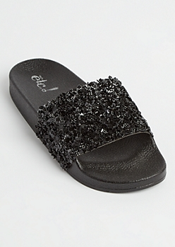 Black Metallic Crushed Crystal Slides - Wide Width