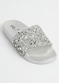 Silver Metallic Crushed Crystal Slides - Wide Width