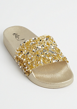 Gold Metallic Crushed Crystal Slides - Wide Width