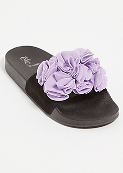 Lavender Floral Ruffle Faux Suede Slides - Wide Width