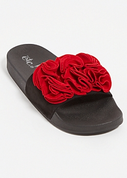 Red Floral Ruffle Faux Suede Slides - Wide Width