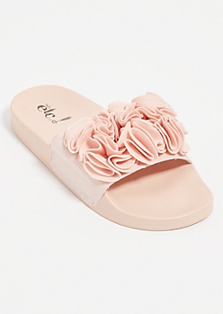 Pink Floral Ruffle Faux Suede Slides - Wide Width