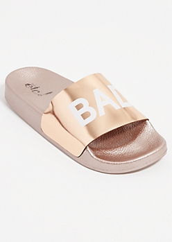 Rose Gold Bad Girl Slides - Wide Width