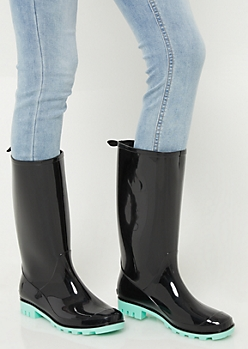 Black Contrast Sole Tall Shaft Rainboots
