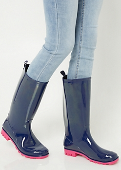 Navy Contrast Sole Tall Shaft Rainboots