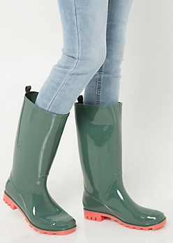 Green Contrast Sole Tall Shaft Rainboots