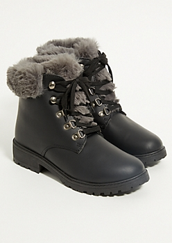 Black Faux Fur Trimmed Boots