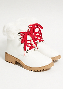 White Faux Fur Trimmed Boots