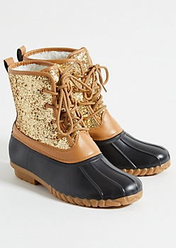 Gold Glitter Sherpa Lined Duck Boots